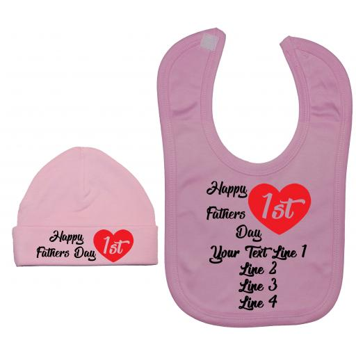 Happy 1st Fathers Day Personalised Baby Feeding Bib & Hat
