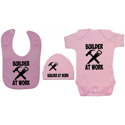 Builder At Work Baby Grow, Bodysuit & Feeding Bib & Hat