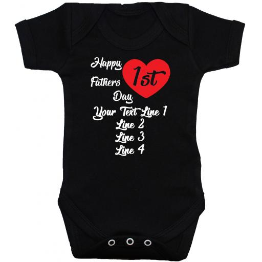 Happy 1st Fathers Day Personalised Baby Bodysuit, Romper, Babygrow