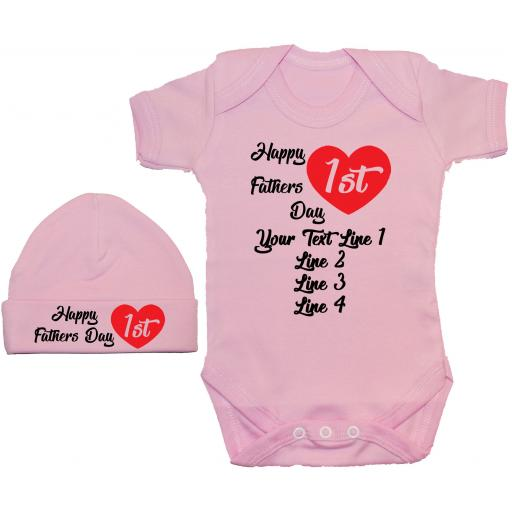 Happy 1st Fathers Day Personalised Baby Grow, Bodysuit, Romper, Vest & Hat/Cap