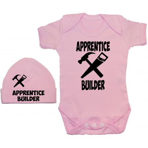 Apprentice Builder Bodysuit, Baby Grow & Beanie Hat