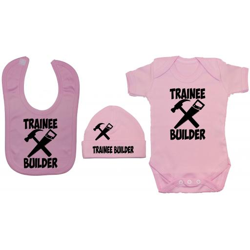Trainee Builder Baby Grow, Bodysuit & Feeding Bib & Hat