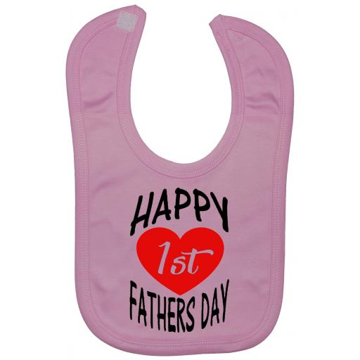 Happy 1st Fathers Day Curved Baby Feeding Bibs Newborn-3 Year Approx Touch Fastener