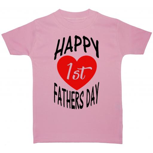 Happy 1st Fathers Day Curved Baby T-Shirt Tops