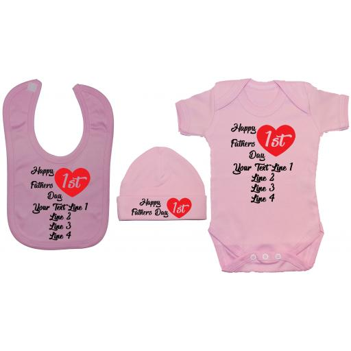 Happy 1st Fathers Day Personalised Baby Grow, Bodysuit, Feeding Bib & Hat
