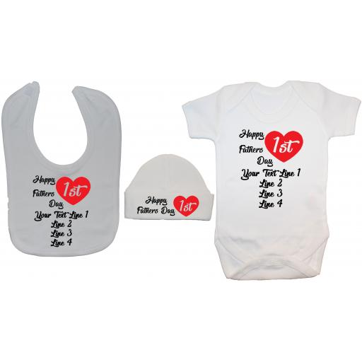 Personalised Own WOrd Baby Fathers Day Bodysuit Bib Hat