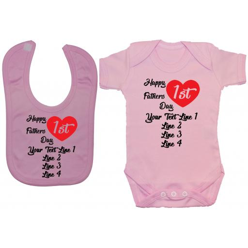 Happy 1st Fathers Day Personalised Baby Grow, Bodysuit, Romper & Feeding Bib