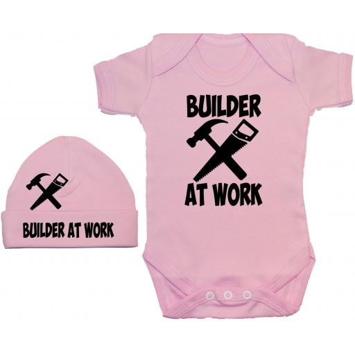 Builder At Work Bodysuit, Baby Grow & Beanie Hat