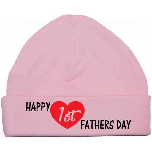 Happy 1st Fathers Day Curved Baby Beanie Hat, Cap 0-12 mths
