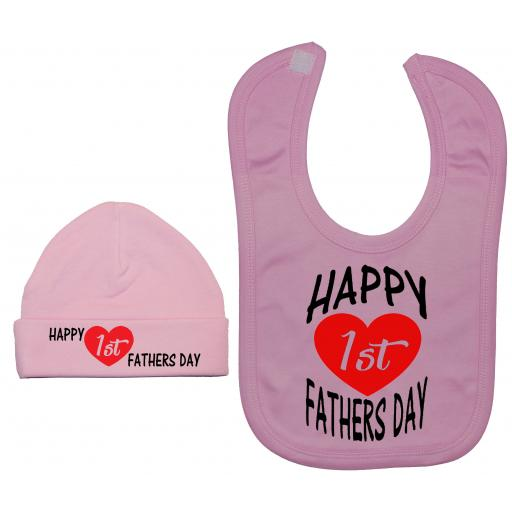 Happy 1st Fathers Day Curved Baby Nursery Feeding Bib & Hat