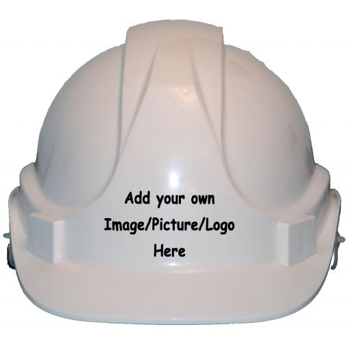 Childrens Personalised Hard Hat Add Own Picture, Image, Logo Label Printed