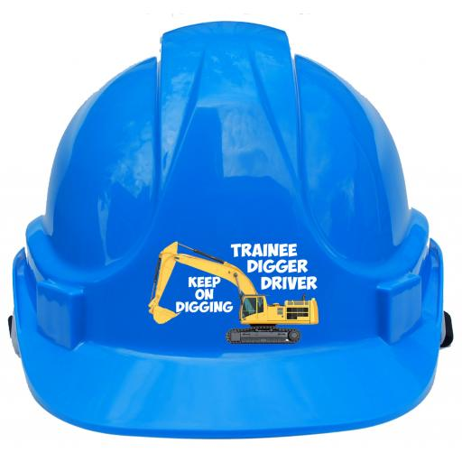 Trainee Digger Driver Label Printed Children, Kids Hard Hat Safety Helmet