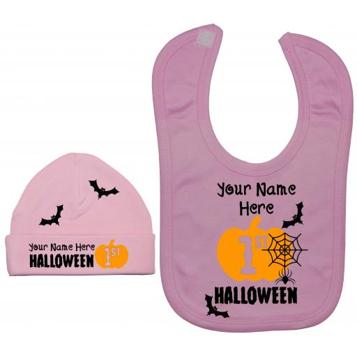 Personalised My First Halloween Nursery Feeding Bib & Hat