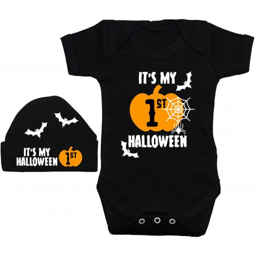 It's My First Halloween Web Baby Grow, Romper & Beanie Hat
