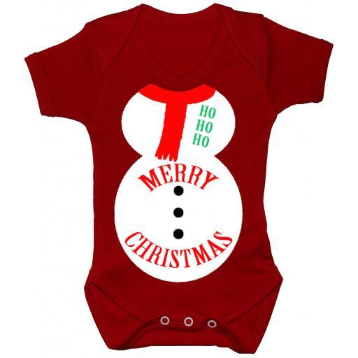 Merry Christmas Snowman Baby Grow, Bodysuit, Romper Xmas