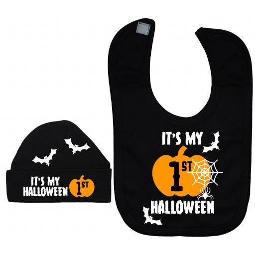 It's My First Halloween Web Nursery Feeding Bib & Hat