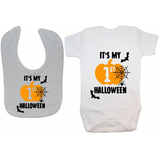 It's My First Halloween Web Baby Grow, Romper & Feeding Bib