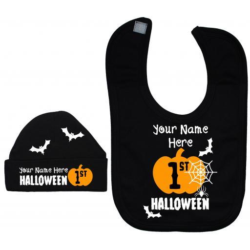 Personalised My First Halloween Nursery Feeding Bib & Hat