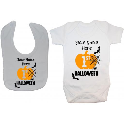 Personalised My First Halloween Baby Grow, Romper & Feeding Bib