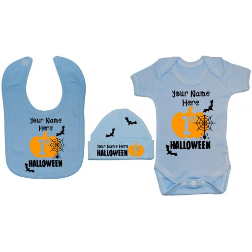 Personalised My First Halloween Baby Grow, Bodysuit & Bib & Hat