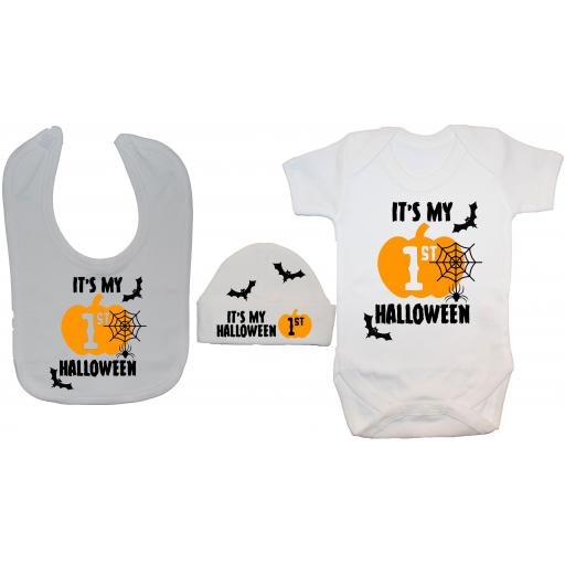 It's My First Halloween Web Baby Grow, Bodysuit & Bib & Hat