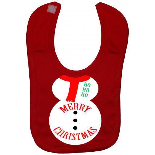 Merry Christmas Snowman Baby Feeding Bib Newborn-3 Yrs Xmas