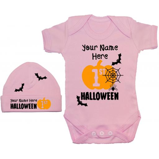 Personalised My First Halloween Baby Grow, Romper & Beanie Hat