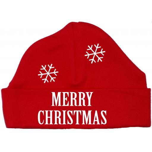 Merry Christmas Snowman Baby Beanie Hat, Cap Xmas