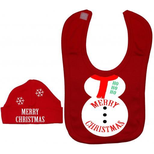 Merry Christmas Snowman Baby Feeding Bib & Hat Xmas