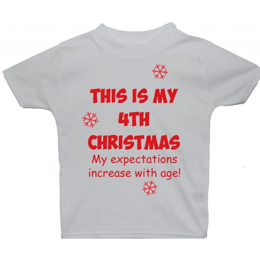 This is My 4th Christmas Baby, Children T-Shirt, Tops Xmas