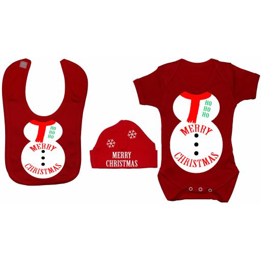 Merry Christmas Snowman Baby Grow, Bodysuit, Bib & Hat