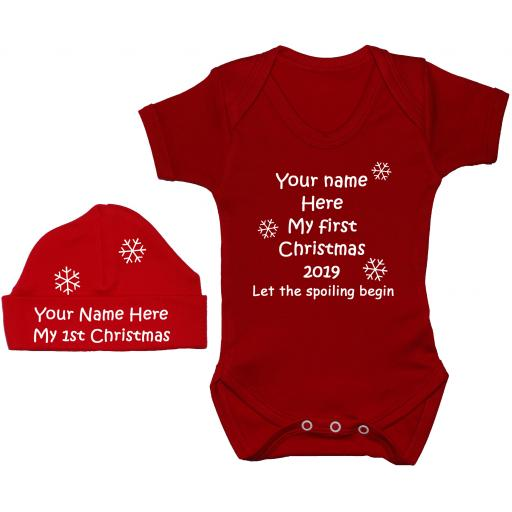 Personalised My First Christmas Year Baby Grow, Bodysuit & Hat