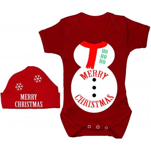 Merry Christmas Snowman Baby Grow, Bodysuit & Beanie Hat