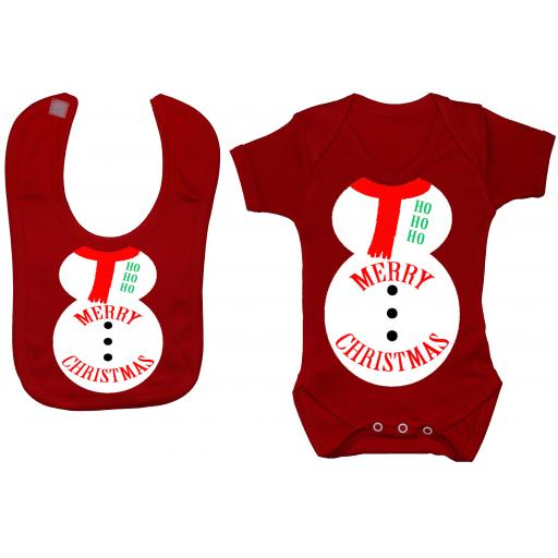 Merry Christmas Snowman Baby Grow, Bodysuit & Feeding Bib
