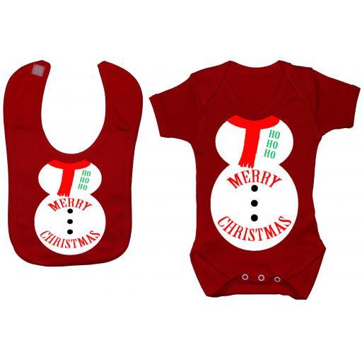 Merry Christmas Snowman Baby Grow, Bodysuit & Feeding Bib