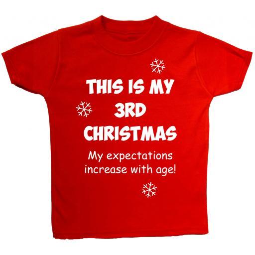 My 3rd Christmas Baby, Children T-Shirt, Tops Xmas