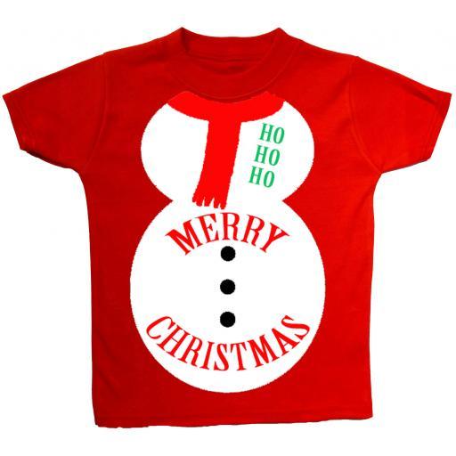 Merry Christmas Snowman Baby, Children T-Shirt, Top Xmas