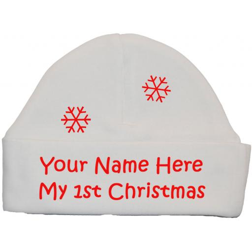 Personalised My First Christmas Baby Beanie Hat, Cap