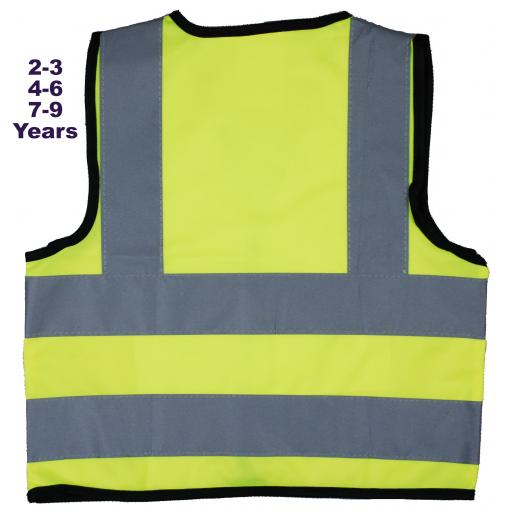 Children, Kids Hi Vis Safety Jackets Plain Yellow No Text