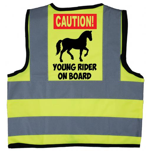 Caution Young Rider on Board Baby Children's Kids Hi Vis Safety Jacket
