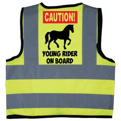 Caution Young Rider on Board Baby Children's Kids Hi Vis Safety Jacket
