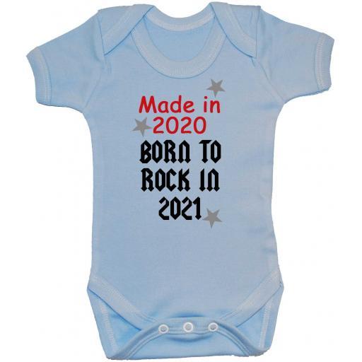Made In 2020 Born to Rock 2021 Baby Grow, Romper, Bodysuit