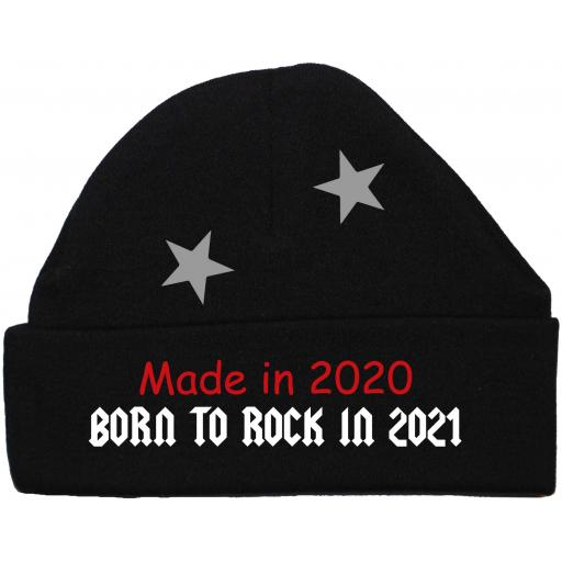 Made In 2020 Born to Rock 2021 Baby Beanie Hat