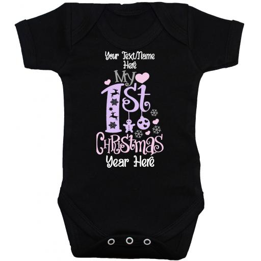 Personalised Name & Year My First Christmas Baby Grow, Bodysuit