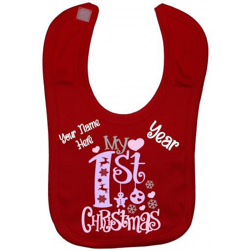 Personalised Name & Year My First Christmas Baby Feeding Bib