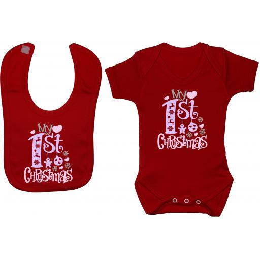 My First Christmas Baby Grow, Bodysuit & Feeding Bib