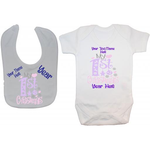 Personalised Name My First Christmas & Year Baby Bodysuit & Bib